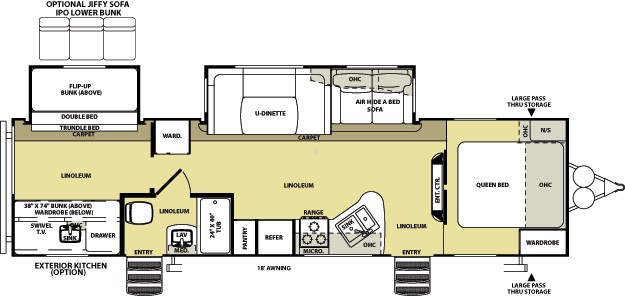 2014 Forest River Salem Hemisphere 312QBUD Outside Kitchen w Bunks