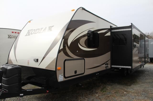 2014 Dutchmen Kodiak 300BHSL Triple Slide Island Kitchen Bunkhouse Outdoor Kitchen Corner Shower Big Master Bedroom Concord NC