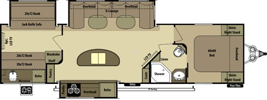 2014 Open Range Light 308BHS Triple Slide Island Kitchen Bunkhouse Huge Master Bedroom Outside Kitchen Concord NC