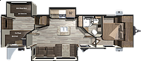 2017 Highland Ridge Open Range 321BHTS Travel Trailer Bunkhouse Outside Kitchen Island Kitchen Concord,NC