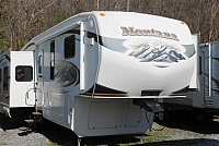 2010 Keystone Montana 3455SA Rear Living 5th Wheel Camper 4 Slides Fireplace W/D Prep 2nd A/C Prep Hydraulic Controls Duncan SC
