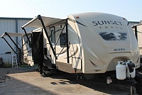 2016 CrossRoads Sunset Trail 32RL Travel Trailer Rear Living 3 Slides 2 Awnings 2nd A/C Prep Outside Kitchen Fireplace Duncan SC