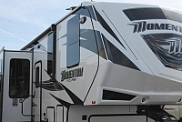 2018 Grand Design Momentum 350M 5th Wheel Toy Hauler Triple Slide Bath and a Half 4 TV's 3 A/C's Self Leveling Onan 5500 Gas Station W/D Prep High End Luxury Duncan SC