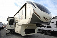 2019 Grand Design Solitude 310GK-R Rear Living Entertainment Fireplace Theatre Seating Free Standing Dinette Kitchen Island Residential Fridge Luxury CONCORD NC