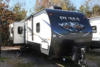 2018 Palomino Puma 31RKSS Travel Trailer Rear Kitchen 2 Slides 2 A/C's Outside Kitchen Power Jacks Stainless Appliances Fireplace Theater Seating Duncan SC