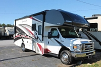 2018 Thor Quantum RC25 Class C Gas Motorhome Ford Chassis and V10 Super Slide w/Topper Queen Bed Backup and Mirror Cams Tankless Water Heater Onan Generator 3 TV's Generous Storage Duncan SC