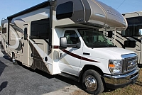 2018 Thor Quantum WS31 Class C Gas Motorhome Ford Chassis and V-10 Tankless Water Heater 3 TV's Partial Paint Exterior Onan Generator Backup and Mirror Cameras 1 Slide w/Topper Auto Leveling Duncan SC