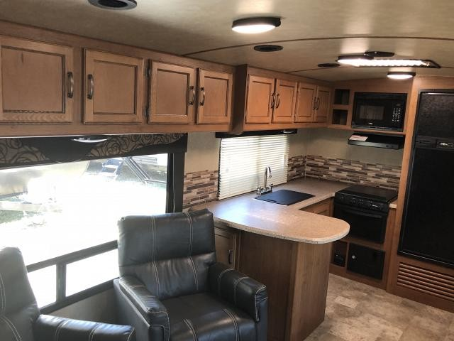 2017 Crossroads Sunset Trail 300RK Super Lite Single Slide Rear Kitchen Travel Trailer Spacious Living Area Outside Kitchen Outside TV Bracket Duncan SC
