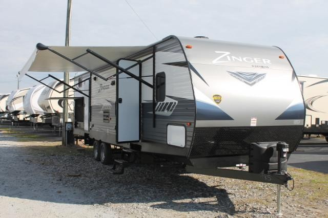 2018 CrossRoads Zinger 328SB Travel Trailer Bunkhouse 2 Slides 2nd A/C Prep Outside Kitchen Outside Shower Blue Accent LED's Inside Duncan SC