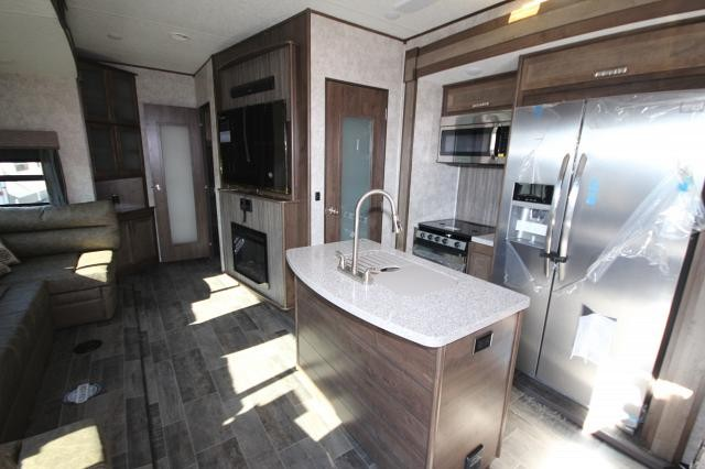 2018 Mesa Ridge Fifth Wheel 374BHS Rear Bunk House 4 Slides Outside Kitchen  U Lounge Fireplace Kitchen Island ...