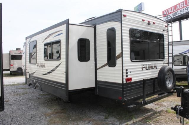 2018 Palomino Puma 30RLIS Travel Trailer Rear Living 2 A/C's Stainless Appliances 2 Slides Power Jacks and Awning Outside Kitchen w/Induction Cooktop Queen Bed Duncan SC