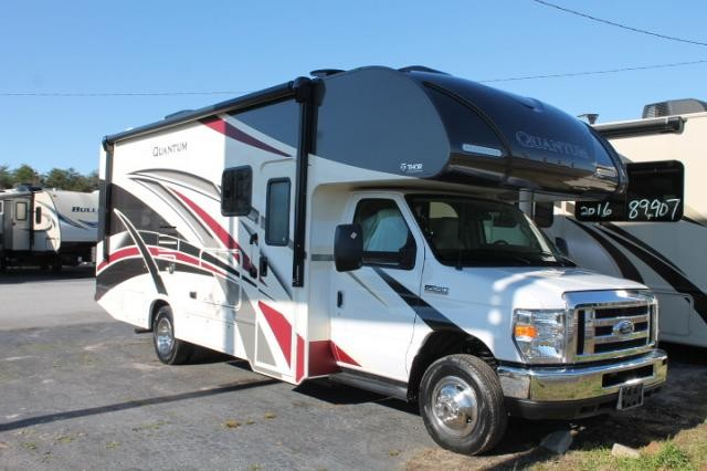 2018 Thor Quantum RC25 Class C Gas Motorhome Ford Chassis And V10 Super Slide W Topper Queen Bed Backup Mirror Cams Tankless Water Heater Onan Generator