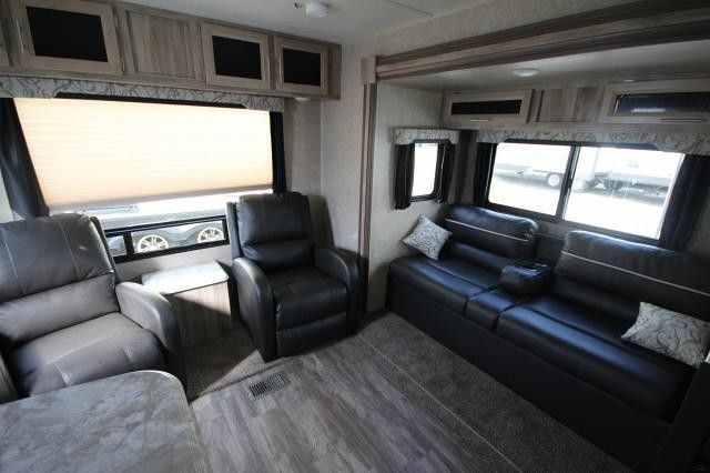 2019 Coachmen Catalina 263RLS Rear Living Sofa 2 Lounge Chairs Booth Dinette Corner Radius Shower One Slide Pull Down Solid Step Beautiful Neutral Interior CONCORD NC