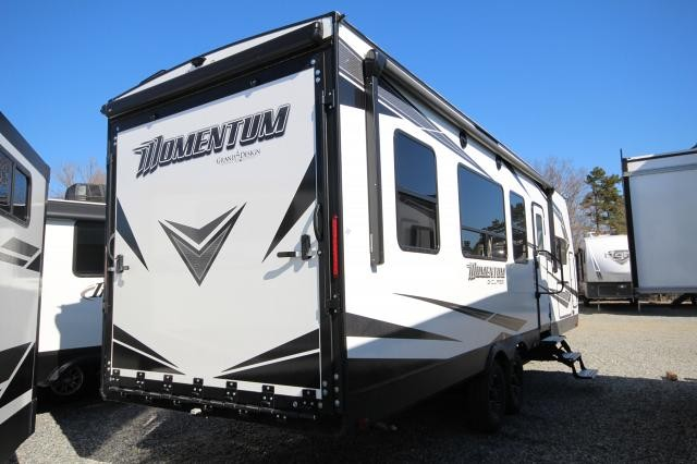 2019 Grand Design Momentum 25G Toy Hauler Ramp Door Patio Jack Knife Sofas W Pull Down Loft Bed Euro Chairs Spacious Shower 2 Slides Outdoor Kitchen CONCORD NC