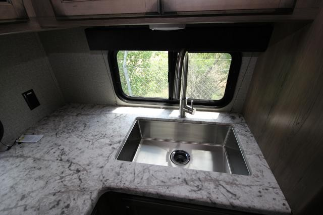 2019 Grand Design Transcend 28MKS Rear Kitchen Spacious Deep Sink Modern Booth Dinette One Slide Tri-Fold Sofa Storage Space Full Shower Modern Design CONCORD NC