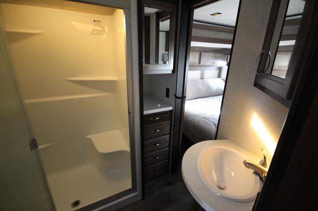 2019 Mesa Ridge Fifth Wheel 371MBH Mid Loft Office W/D Hookup Rear Living Fireplace Kitchen Island Free Standing Dinette Storage Space 4 Slides 2 A/C's King Bed Auto Leveling Outside Kitchen CONCORD NC