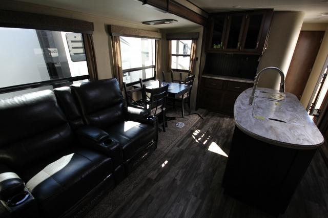 2019 Reflection Travel Trailer 297RSTS Rear Living Theatre Seating Fireplace Kitchen Island Free Standing Dinette 2 Slides Outdoor Entertainment W/D Prep USB Charging Port Luxury CONCORD NC